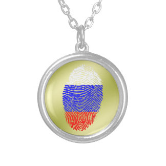 Russian touch fingerprint flag silver plated necklace