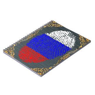 Russian touch fingerprint flag spiral notebook