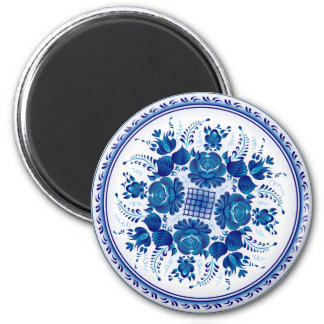 Russian traditional ornament in Gzhel style 6 Cm Round Magnet