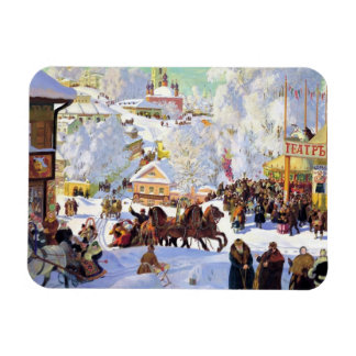 Russian Village in the Winter Rectangular Photo Magnet