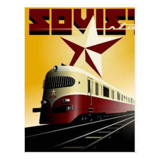 Russian Vintage Communist Railway Poster Postcard