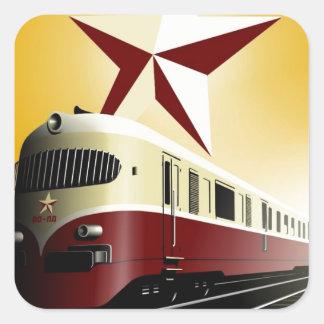Russian Vintage Communist Railway Poster Square Sticker