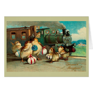 Russian Vintage Easter with Train Note Card