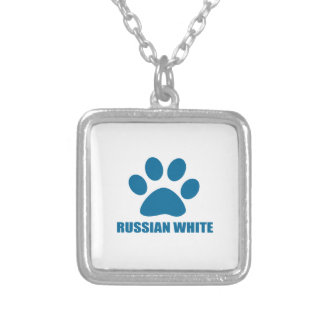 RUSSIAN WHITE CAT DESIGNS SILVER PLATED NECKLACE