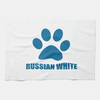 RUSSIAN WHITE CAT DESIGNS TEA TOWEL