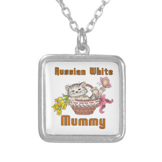 Russian White Cat Mom Silver Plated Necklace