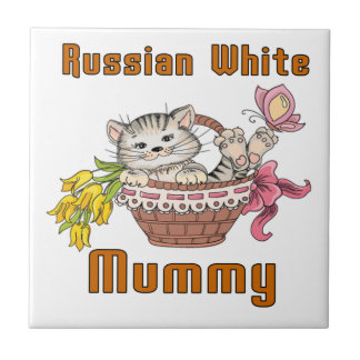 Russian White Cat Mom Small Square Tile