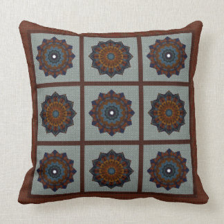 Rust And Blue Stars Cushion