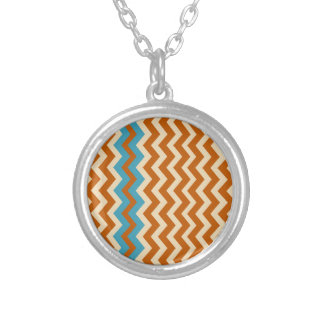 Rust and Cream Zigzags With Blue Border Round Pendant Necklace