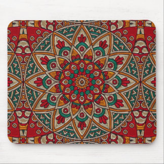 Rust and Forest Green Mystical Mandala Mouse Pad