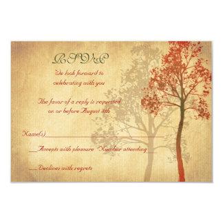 Rust Autumn Fall Tree Wedding RSVP Reply Card 9 Cm X 13 Cm Invitation Card