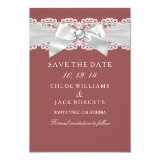 Rust Brown Damask & Pearl Bow Save The Date 3.5x5 Paper Invitation Card