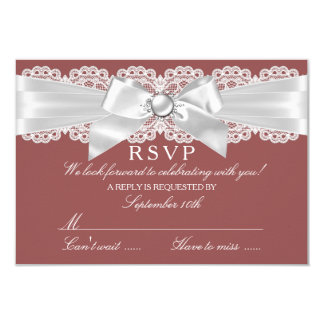 Rust Brown & Pearl Bow RSVP 3.5x5 Paper Invitation Card
