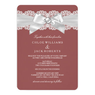 Rust Brown & Pearl Bow Wedding Invite