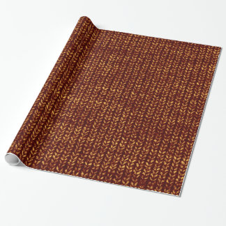 Rust Brown Sweater Knit Texture Wrapping Paper