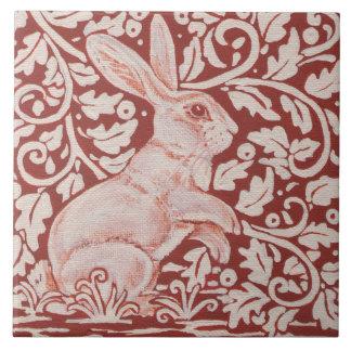 Rust Color Rabbit & Leaves Designer Ceramic Tile