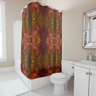 Rust Copper Green Yellow Abstract Tulip Shower Curtain