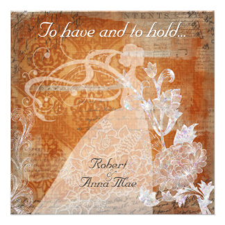 Rust Damask To Have and Hold Wedding Invitation
