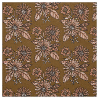 Rust Floral Bouquet Fabric