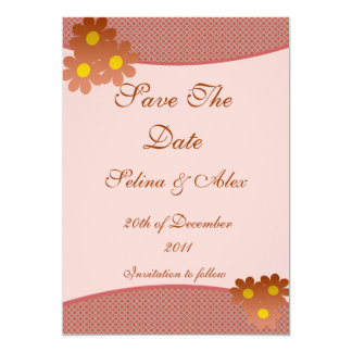 """Rust Flower Save the Date 5"""" X 7"""" Invitation Card"""