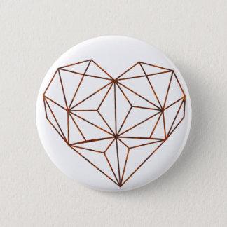 rust-geometric heart design 6 cm round badge