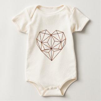 rust-geometric heart design baby bodysuit
