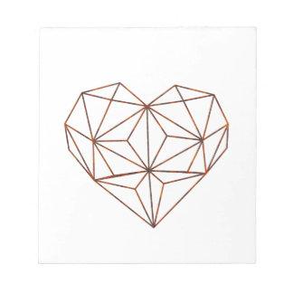 rust-geometric heart design notepad