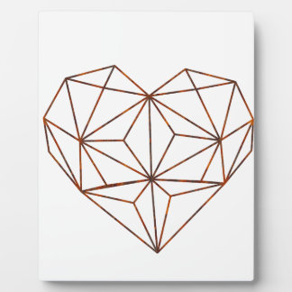 rust-geometric heart design plaque