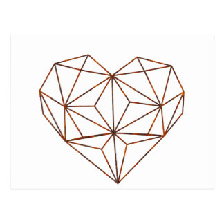 rust-geometric heart design postcard