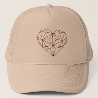 rust-geometric heart design trucker hat