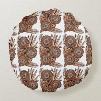 Rust Gerbera Daisy Flower Bouquet Round Cushion