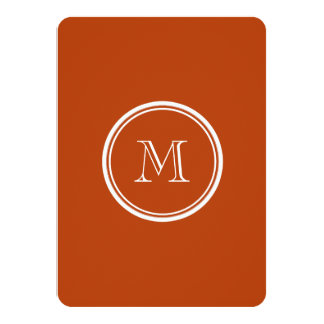 Rust High End Colored Monogram Initial 11 Cm X 16 Cm Invitation Card