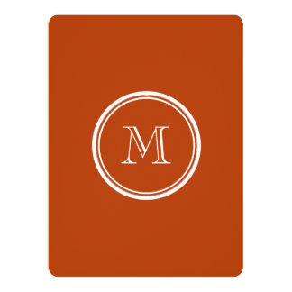 Rust High End Colored Monogram Initial 6.5x8.75 Paper Invitation Card