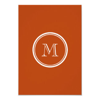 Rust High End Colored Monogram Initial 3.5x5 Paper Invitation Card