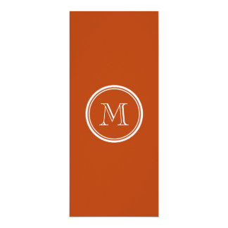 Rust High End Colored Monogram Initial 10 Cm X 24 Cm Invitation Card
