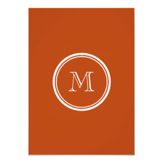 """Rust High End Colored Monogram Initial 4.5"""" X 6.25"""" Invitation Card"""