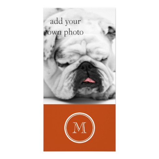 Rust High End Colored Monogram Initial Customized Photo Card