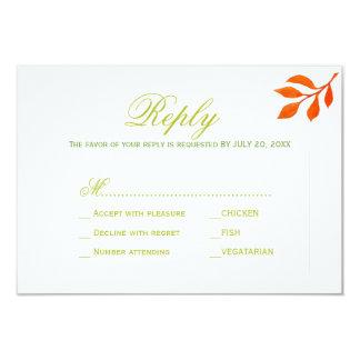 Rust leaves wedding response meal choice RSVP Card