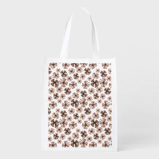 Rust Lucky Shamrock Clover Reusable Grocery Bag