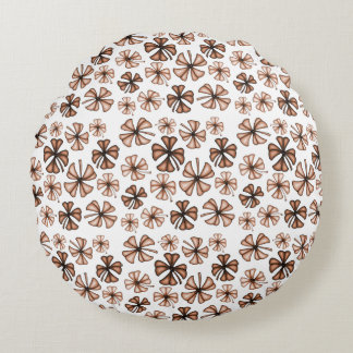 Rust Lucky Shamrock Clover Round Cushion