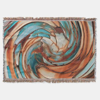 Rust N Blue Abstract Art Throw Blanket