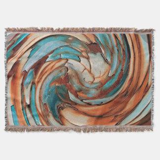 Rust N Blue Abstract Art Throw Blanket