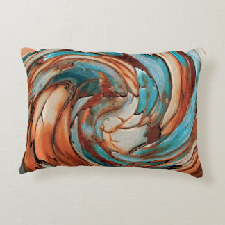 Rust N Blue Abstract Art Throw Pillow Accent Cushion