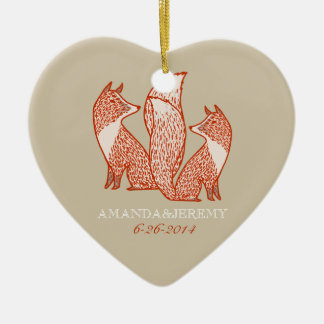 Rust Red and Ivory Foxes Anniversary Ceramic Heart Decoration