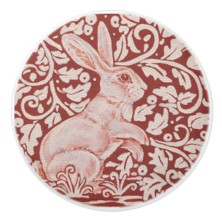 Rust Red Autumn Rabbit Berries Drawer Pull Knob