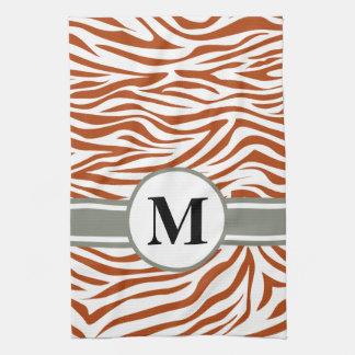 Rust Red Safari Zebra with monogram Tea Towel