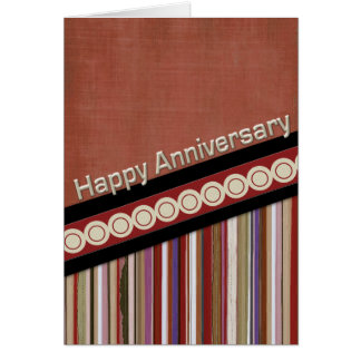 Rust Stripes and Circles 3D Anniversary Card
