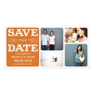 RUST VINTAGE COLLAGE | SAVE THE DATE ANNOUNCEMENT PHOTO CARD TEMPLATE