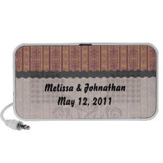 rust vintage striped damask wedding keepsake mp3 speakers