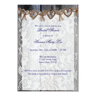 Rust Wood Lace Twine Bridal Shower Invitation